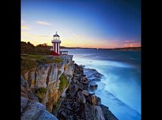 Candy Cane Lighthouse Sunset by Mark Dunham, via - Hornby Lighthouse near Watsons Bay in Sydney Australia. Lighthouse Art, Lighthouse Keeper, Harbor Lights, Beacon Of Light, Short Trip, Sydney Australia, Candy Cane, Travel Destinations, Around The Worlds