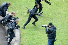 Cast on the set of Mockingjay on May 13th, 2014