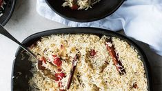Baked Rice with Confit Tomatoes and Garlic - Recipe - FineCooking Garlic Recipes, Rice Recipes, Healthy Recipes, Rice Dishes, Casserole Dishes, Main Dishes, Feta, Ottolenghi Recipes, Gastronomia