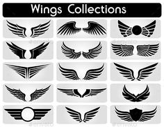 Buy Wings Collection Set by yawahabo on GraphicRiver. Set of black icons of different wings, vector illustration Vector Pattern, Pattern Art, Eagle Wing Tattoos, Sparrow Drawing, Pilot Tattoo, Forearm Band Tattoos, Eagle Wallpaper, Wing Tattoo Designs, Eagle Wings
