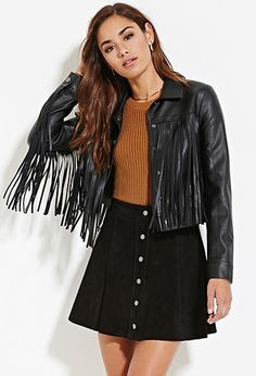 Fringed Faux Leather Jacket | Forever 21 - 2000183210