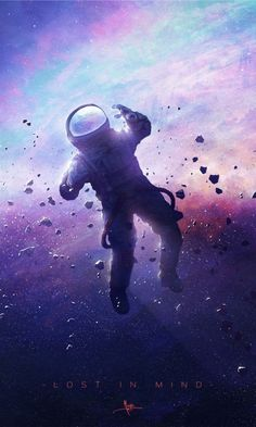 Lost in mind, cosmos, space, colorful, astronaut, artwork, 480x800 wallpaper