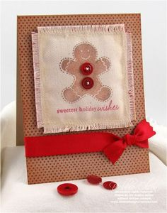 Gingerbread man on canvas Christmas card with buttons and ribbon. Cute!