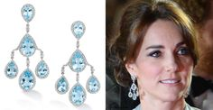 "The Duchess debuted a stunning pair of new earrings by Robinson Pelham for her appearance at The Cinema and Television Benevolent Fund's Royal Film Performance 2015 of the 24th James Bond Adventure, ""Spectre"" at Royal Albert Hall on October 26, 2015. This jeweller also designed the earrings she wore on her wedding day. The striking pagoda earrings are set with blue topaz and diamonds in white gold."
