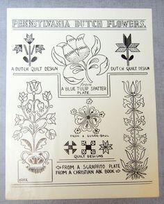 Pennsylvania Dutch Folk Art Example - Flowers (3) - Quilt Design Tulip - Drawing Guide on Etsy, $10.00