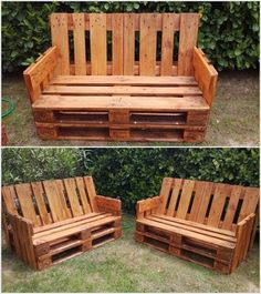 Currently, wood pallet benches are becoming one of the main demand of each single house garden. In this design simple and yet comfortable pieces of the wooden pallet benches have been introduced. In order to make it comfortable to settle out you can place the soft cushions over the benches.
