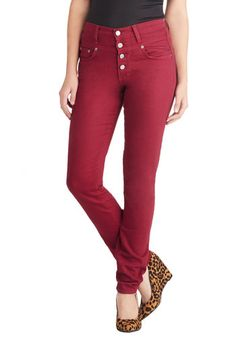 Karaoke Songstress Jeans in Crimson - Cotton, Woven, Red, Solid, Pockets, Casual, Skinny, Good, Variation, Buttons