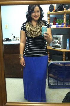 Leopard scarf, striped shirt, and cobalt maxi skirt! Perfect!!