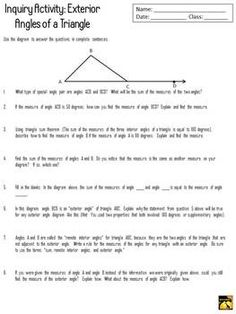 1000 images about angles and lines on pinterest angles - The exterior angle theorem answers ...