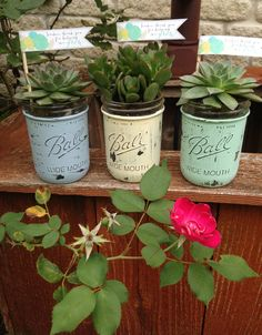 Painted and distressed mason jars. Great teacher gifts!