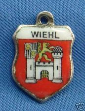 Vintage 800 Silver & Enamel Travel Shield Charm WIEHL Germany