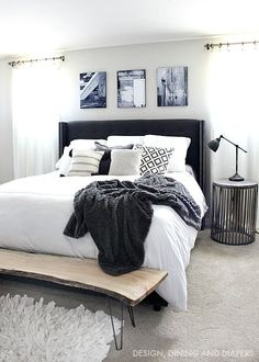 Bench. Black and White Master Bedroom with Wood accents #snapfishbloggers #sp