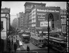 Arthur Hosking. Broadway Series. View of east side of Bway, looking north from Lispenard and Canal Street, where the two streets converge. Museum of the City of New York. X2010.18.5