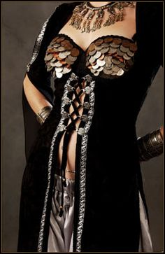 Ghawazee coat, black with silver and copper embellishments.
