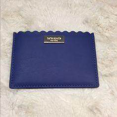 Kate spade card holder Super cute blue scalloped card holder! Never used. Originally $58! Cute for spring/summer! kate spade Bags