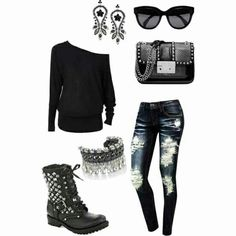 Rocker chic biker chic fashion, fashion outfits и rocker chi Hipster Outfits, Rock Outfits, Edgy Outfits, Fashion Outfits, Fashion Boots, Rock Chic, Glam Rock, Love Fashion, Winter Fashion
