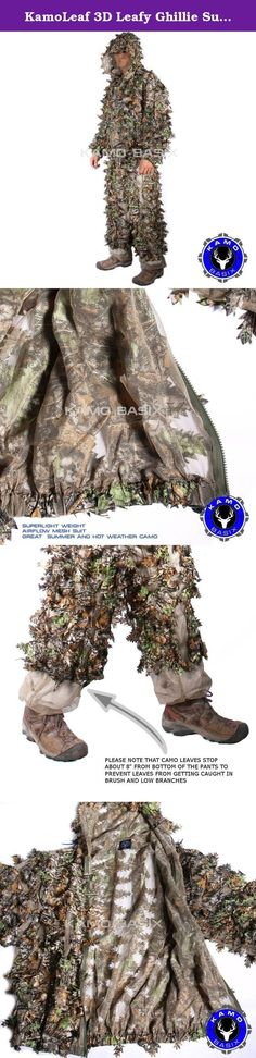 KamoLeaf 3D Leafy Ghillie Suit By Camo Basics (ML). KamoLeaf 3D Leaf Camouflage Ghillie Suit by Kamo Basix™ This 3D Leafy camouflage suit is a super lightweight, camo suit that is made for someone who wants a 1 lb, light, compact, quick on the go suit. Built on a sturdy mesh nylon base, with in attached hood. Incredibly light and breathable. Great value. Comes in the Woodlands Custom color to match many terrains. Features: Weighs only 1 lb Full front zipper Attached hood Elastic and...
