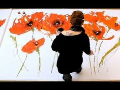 ▶ Abstract floral acrylic Painting demo XL - Abstrakte florale Malerei XL -zAcheR-fineT - YouTube