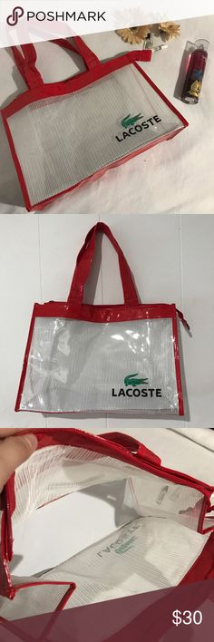 💥LAST PRICE💥Lacoste Transparent Tote bag Lacoste Transparent Tote bag. NWOT. Excellent condition. No flaws. Very clean inside and outside of the bag. This tote have a zipper closure so all your stuff to be secure. Can be used for a travel bag, book bag, large purse, beach bag, etc. Very versatile. Measurement: 11hx15w ✔️add another bundle to save 10% Lacoste Bags Totes