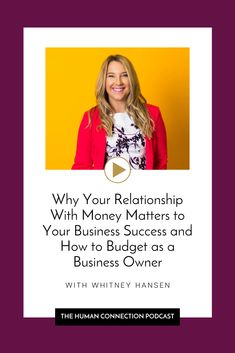 How is your relationship with money? 🤔💸Your relationship with money can spill over into so many different aspects of your life including your relationships with other people and your business success. In this episode of the Human Connection podcast, I was joined by millennial finance expert, Whitney Hansen of the Money Nerds! We dive into sooo much juicy financial topics and you might be shocked at our take on a few things. #budgetinginbusiness #moneyrelationship #businessfinancialadvice Grateful For You, Practice Gratitude, Human Connection, Getting To Know You, Money Matters, Other People, Love Her, Budgeting, Finance