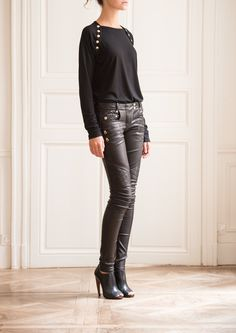Cool BALMAIN Women Studded Leather Pants  Spence Outlet