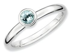 Stackable Expressions Sterling Silver Low 4mm Round Aquamarine Stackable Ring