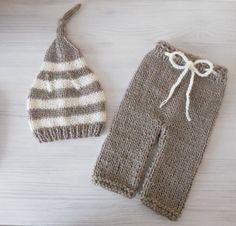 Knit newborn set beige cream knit hat knit pants beige hat cream hat stripped set photo prop christening