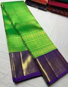 Pure silk saree with pure zari. What's app for price 9591571039 Pattu Sarees Wedding, Wedding Saree Blouse Designs, Pattu Saree Blouse Designs, Wedding Silk Saree, Blouse Designs Silk, Bridal Sarees, Kanjivaram Sarees Silk, Blue Silk Saree, Indian Silk Sarees