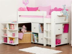 Uno 3 White Midsleeper Frame + Pullout Desk + 2 x Cube Units (colour door options available)
