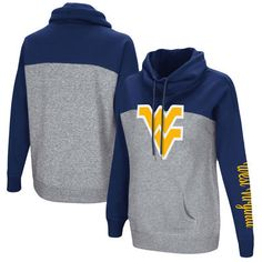 West Virginia Mountaineers Colosseum Women's Color Block Springboard Funnel Neck Pullover Sweatshirt - Navy