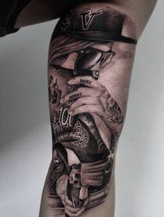 Tattoo Gangster Frauen Porträt