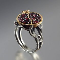 POMEGRANATE+garnet+bronze+and+silver+ring+by+WingedLion+on+Etsy,+$370.00