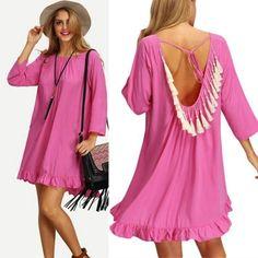 Women's Round Neck Ruffled Hem Tasseled Back Dress - OASAP.com