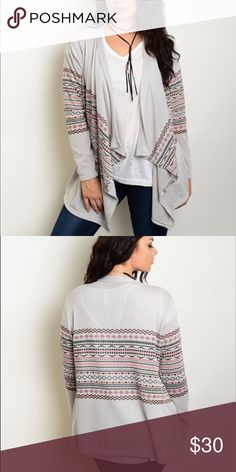 """JUST ARRIVED! Plus Size Tribal Cardigan. Plus size tribal cardigan, gray/coral. 95% polyester, 5% spandex. L - 30"""", B - 20"""", W - 16"""". Made in the USA. Sweaters Cardigans"""