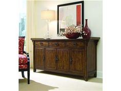 Shop for Hooker Furniture Credenza with Audio Option, 643-85-122, and other Living Room Cabinets at Hickory Furniture Mart in Hickory, NC. Hardwood Solids, Primavera, Pine and Red Birch Veneers; Legends Finish; Four doors with one adjustable shelf behind each; three drawers, center drawer has a drop front for use with components, drawers and case interior are finished on inside to match the front for use with components, drawers and case interior are finished on inside to match the outside…