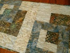 Quilted Batik Table Runner in Blue and Brown  Long by susiquilts