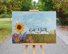Sunflower Wedding Guest Book Alternative Canvas Painting / Creative Guest Book / Unique Guest Book Idea / Personalized Sunflower Painting  #sunflowerwedding #outdoorwedding #rusticwedding #guestbook