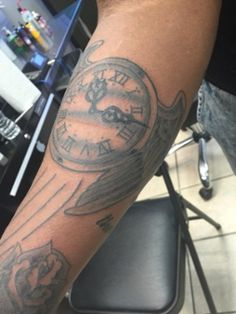 Clock with Wings by A.R.T. Trained Tattoo Artist Nick Carroll. Click to learn more about how you can become a tattoo artist!