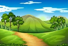 Buy A Green Landscape by BlueRingMedia on GraphicRiver. Illustration of a green landscape Cartoon Background, Vector Background, Diorama, Heaven Painting, Green Landscape, Color Theory, Vector Graphics, Habitats, Character Art