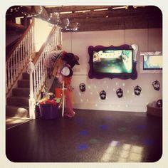 Disco dance floor. Silent disco. Foam machine party. Bubble machine