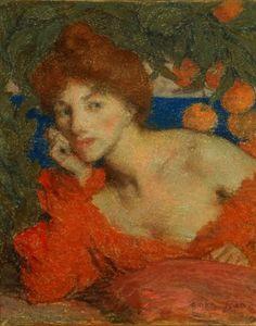 Under the Orange Trees, Woman in Amalfi, pastel, 1899 - Edmond François Aman-Jean (French, 1858-1936)
