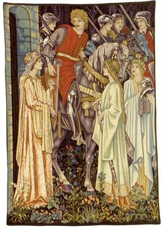 Holy Grail Tapestry (left panel detail) - The first of six panels from the Holy Grail series, designed by Sir Edward Burne-Jones & was first woven by Morris & Co. in 1894. It represents the arming & the departure of the knights of the Round Table, amongst which Sir Bors, Sir Percival & Sir Galahad. The original hangs in the Birmingham Museum & Art Gallery. Queen Guinevere & Sir Lancelot are on the left of the tapestry. #William_Morris #Morris_and_Co #Arts_and_Craft #tapestry