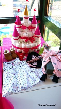 Babyparty Babygirl Mädchen Deko Geschenke Windeltorte Märchenschloss Momentchenmal Baby & Mummy DIY Rosa Pink_1
