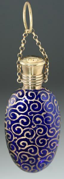 Cobalt Glass Scent Perfume Bottle with Swirled Gilt Decoration, c.1890