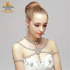 Wedding Bridal Silver Crystal Rhinestone Shoulder Body Long Back Chain Necklace  | Clothing, Shoes & Accessories, Wedding & Formal Occasion, Bridal Accessories | eBay!