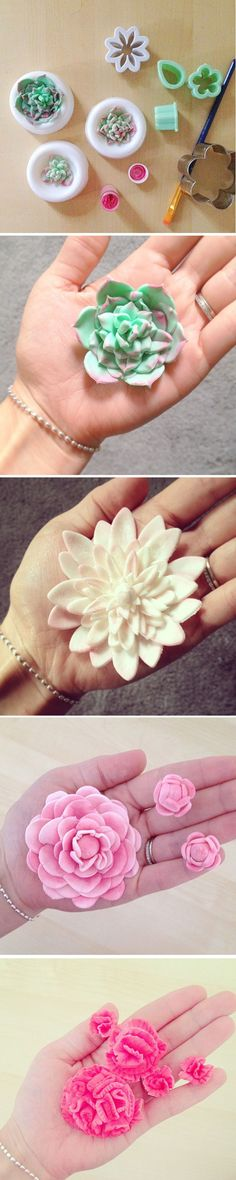"""Gumpaste flowers - dahlia's, succulents, celosia, etc. Gumpaste holds up much better for these than fondant. Don't make sugar flowers out of fondant!"" - that last one looks like a brain. :o"