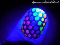 Flourescent polka-dots under black light