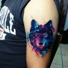 Galaxy watercolor wolf