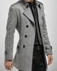 Mens Overcoat Slim Simple Snap Down Collar Single Breasted Men
