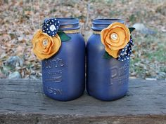 Pair of Vintage Mason Jars - Navy Blue Jars - Fabric Flowers - Navy Blue and Yellow Decor - Home or Wedding Decor - Navy and Mustard - Jar on Etsy, $27.00